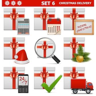 Vektor weihnachtslieferung set 6