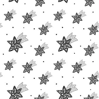 Vektor weihnachtsskandinavisches nahtloses muster mit sternen. abstrakte handgezeichnete linien textur zeichnung