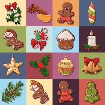 Vektor-weihnachtssymbole und nette festliche bonbons.