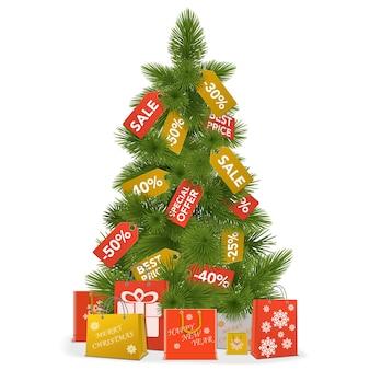 Vektor-weihnachtsverkaufskonzept lokalisiert auf weißem hintergrund