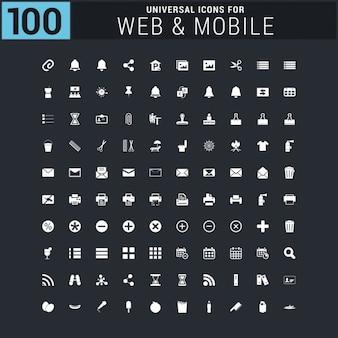 Vektor weiß 100 universal-web-symbole auf schwarz gesetzt