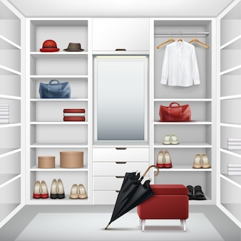 Vektor weiß leere garderobe schrank mit boxen, spiegel, roten hocker, hemd, hüte, taschen, schuhe und schwarzen regenschirm vorderansicht