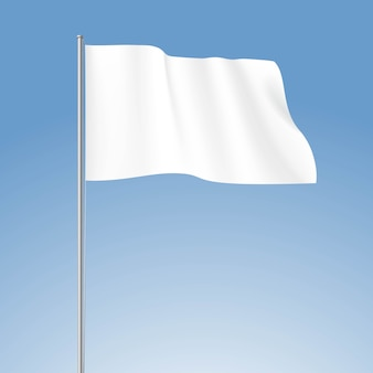Vektor weiße leere flagge lokalisiert auf hintergrund