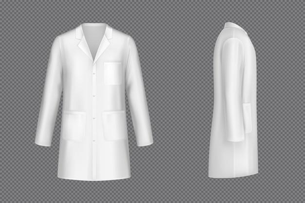 Vektor weißer arztmantel, medizinische uniform