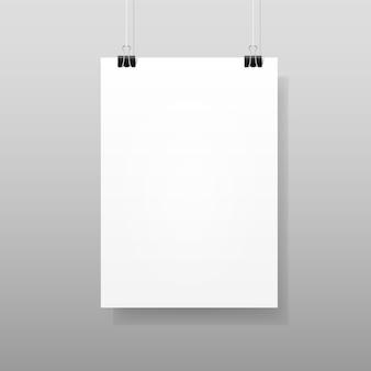 Vektor weißes leeres papier wandposter mockup template frame design