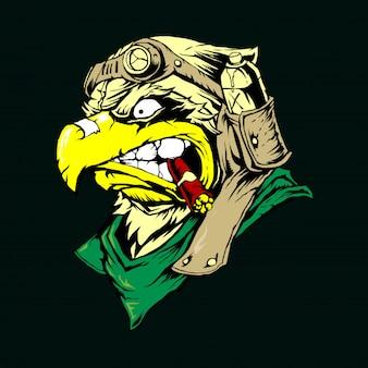 Vektor-Weißkopfseeadler-oder Falke-Kopf-Maskottchen-Grafik