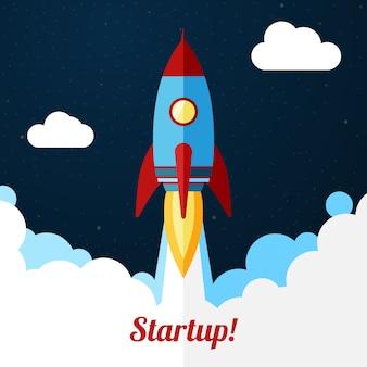 Vektor. weltraumraketenstart. konzept für startups, releases etc.