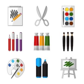 Vektor-werkzeugsatz für künstler im flachen entwurfsstil. gouache und schere, marker und palette und pinselillustration