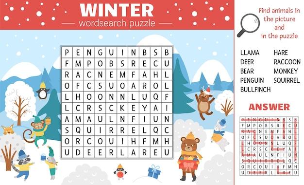 Vektor-wintersaison-wortsuchrätsel für kinder. einfaches kreuzworträtsel mit weihnachtsszene und versteckten tieren für kinder. pädagogische keyword-aktivität mit süßen lustigen tieren in warmer kleidung