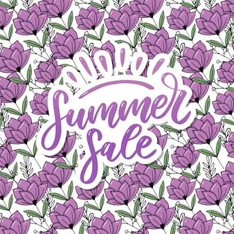 Vektor wort sommerschlussverkauf. buchstaben aus blüten und blättern sommerschlussverkauf