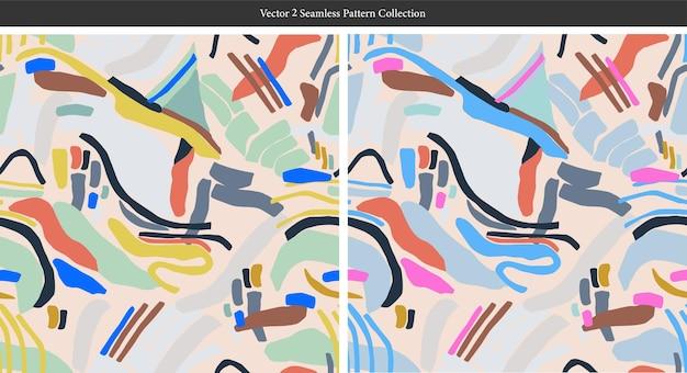 Vektor zeitgenössische moderne malerei pinsel formt illustration nahtlose wiederholungsmuster wohnkultur