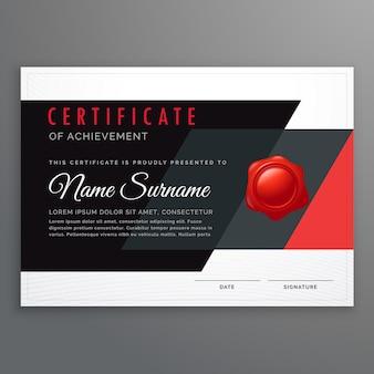 Vektor-zertifikat design in modernen schwarzen und roten geometrischen formen