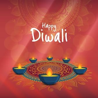 Vektorabbildung auf dem thema des feiertags diwali. deepavali licht- und feuerfest.