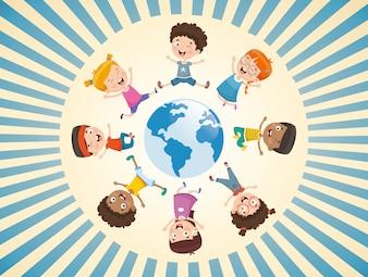 Vektorabbildung der Kinder, die um die Welt spielen