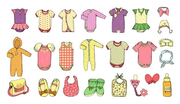 Vektorabbildung der schätzchenkleidung. babykleidung eingestellt.