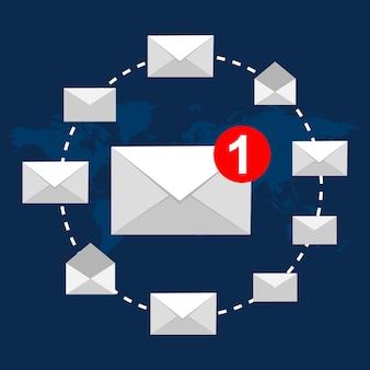 Vektorabbildung-email-konzept. wohnung modernes design.