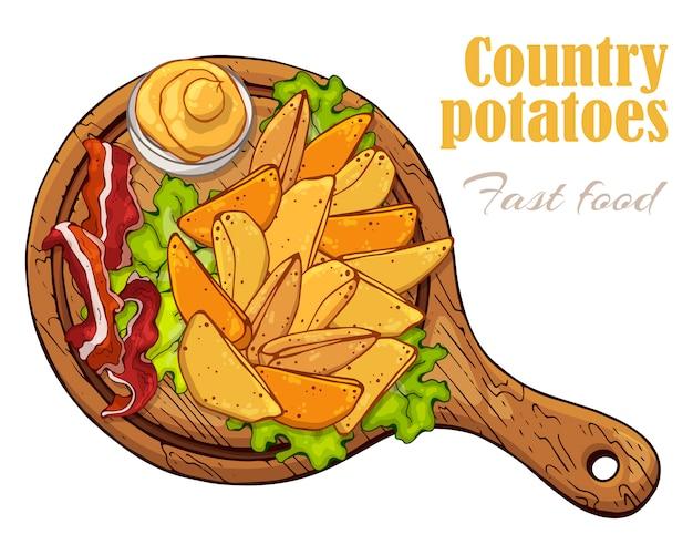 Vektorabbildungen auf dem schnellimbissthema: landkartoffeln auf einem brett.