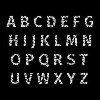Vektoralphabet mit diamantenbuchstaben. brillanter luxus, diamantkristall, schriftbuchstabe und gesetzte illustration