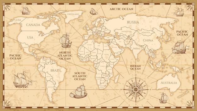 Vektorantike weltkarte mit ländergrenzen