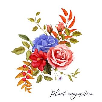 Vektoraquarellblumen-weinlesemuster mit hibiskus, rose, blüten mit blättern und beeren für hochzeitskartenentwurf.