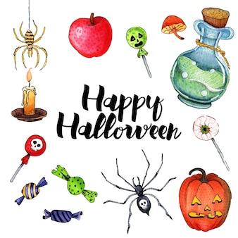 Vektoraquarellillustration für glückliches halloween