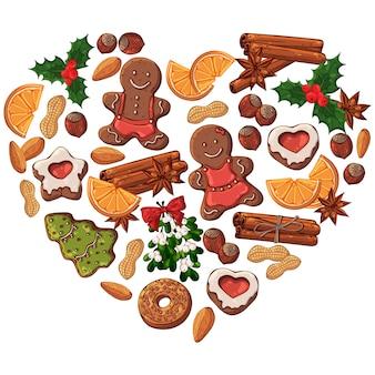 Vektorarten von weihnachtssymbolen und -bonbons.