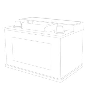 Vektorautobatterie-linienillustration auf weißem hintergrund