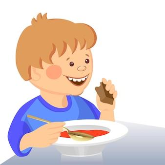 Vektorbaby isst mit einem löffel aus einer schüssel