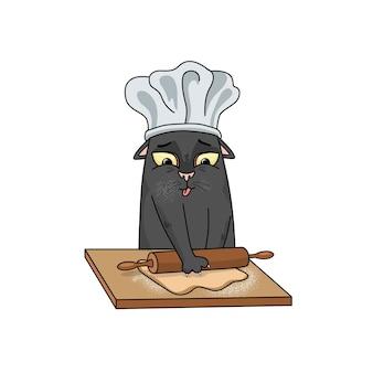 Vektorbäcker schwarze katze rollt den teig auf einem holzbrett aus, gesicht mit mehl bedeckt