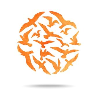 Vektorball von seemöwenaquarellschattenbildern
