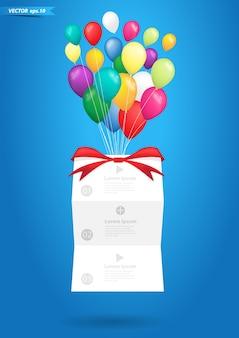 Vektorballone mit fahnendesign