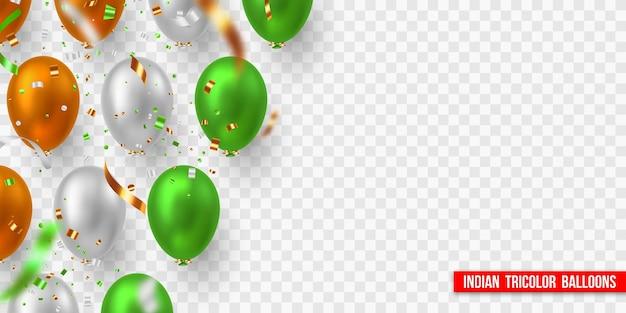 Vektorballons mit konfetti in der trikolore der indischen flagge. dekorative realistische elemente für nationalfeiertage indiens. auf transparentem hintergrund isoliert.