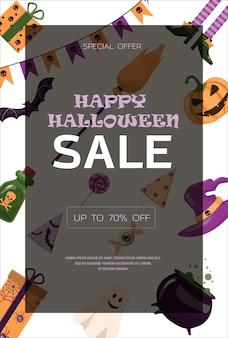 Vektorbanner für halloween-cartoon-vorlagendesign für werbeeinladungen für werbeverkaufspartys