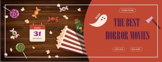 Vektorbanner für halloween-cartoon-vorlagendesign für werbung, verkauf, partyeinladungen. set für halloween flaches design helle süße bilder für allerheiligen am 31. oktober