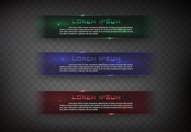 Vektorbanner glänzendes quadrat für webfarbe grün blau und rot