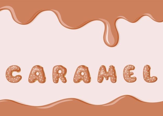 Vektorbanner mit karamelltextur und donuts-schriftarttext
