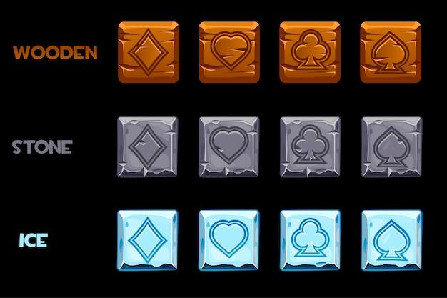 Vektorbeschaffenheitssymbolspielkarten.