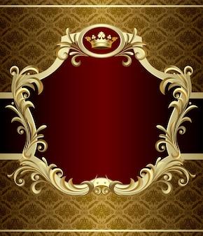 Vektorbild des goldfahnen mit einer krone im barockstil.