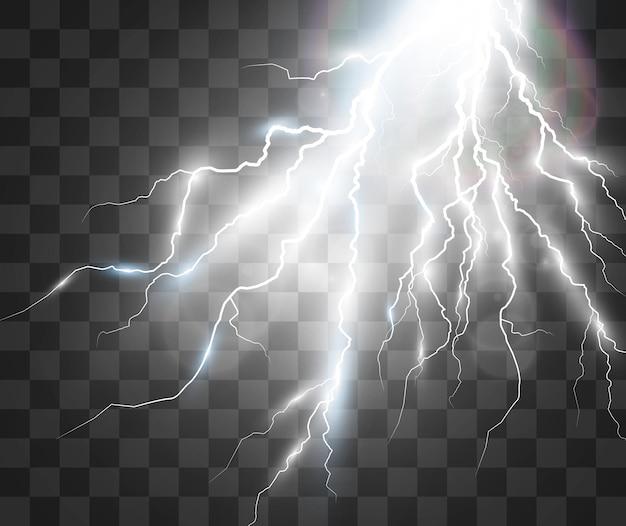 Vektorbild des realistischen blitzes blitz des donners auf einem transparenten hintergrund