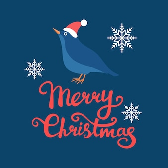 Vektorbild des vogels in der weihnachtsmütze mit weißen schneeflocken und text der frohen weihnachten