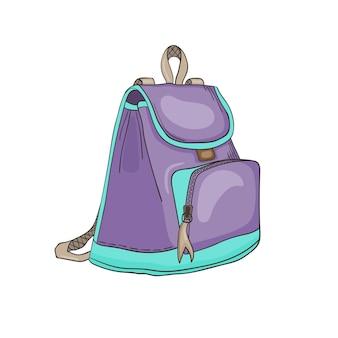 Vektorbild eines weiblichen urbanen rucksacks in den farben lila und türkis damenmode-accessoire