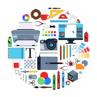 Vektorbilder von werkzeugen für grafikdesigner