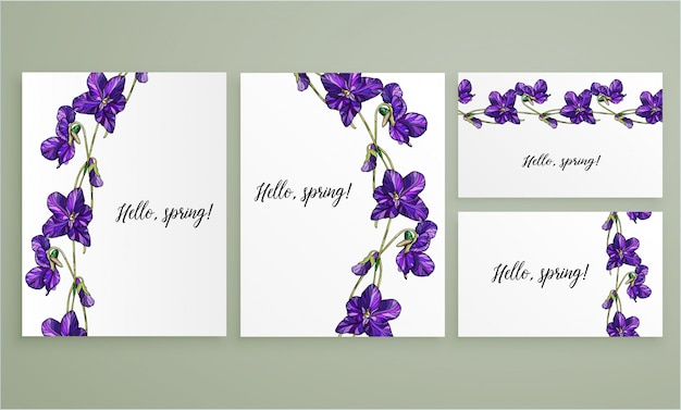 Vektorblumengrußkarte eingestellt mit veilchenblumen.