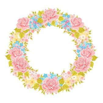 Vektorblumenkranz. dekoratives blumenelement für die gestaltung von einladungen, grußkarten. blumenrahmen.