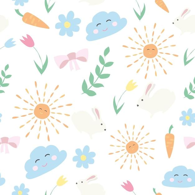 Vektorblumenmuster im doodle-stil mit blumen und blättern. sanfter, frühlingshafter blumenhintergrund.