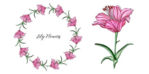 Vektorblumenvorbereitungen mit lilienblumen.