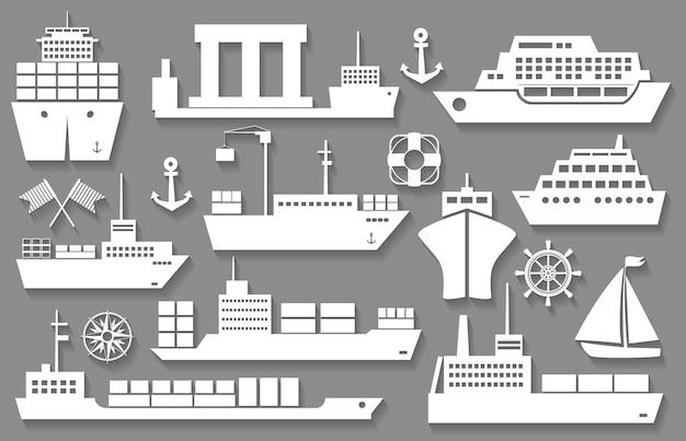 Vektorboot und schiff weiße ikonen mit schatten