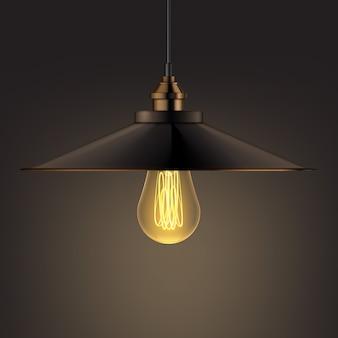 Vektorbronze glänzende kronleuchterlampenfront, seitenansicht nah oben auf dunklem hintergrund