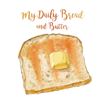 Vektorbrot mit butter