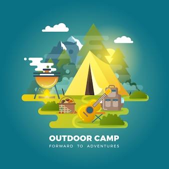 Vektorcampinghintergrund mit touristenzelt. camping im freien, reiselager, tourismuslager mit zeltillustration